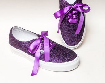 596f8f175eb18e Glitter - Razzle Purple Vans Canvas Authentic Sneakers Shoes with Satin  Ribbon Laces