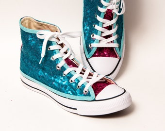 679f158ec8b2 Tiny Sequin - Starlight Two Tone Peacock Blue Over Hot Fuchsia Pink Canvas  Hi Top Sneakers Shoes