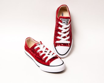 66df7409acac Youth - Tiny Sequins - Starlight Red Canvas Low Tops Sneakers Shoes
