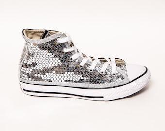 9c2dd52c39d6 Toile Converse® argent Sequin - jeunesse - Salut Tops noir Racing Stripe  baskets chaussures de Tennis