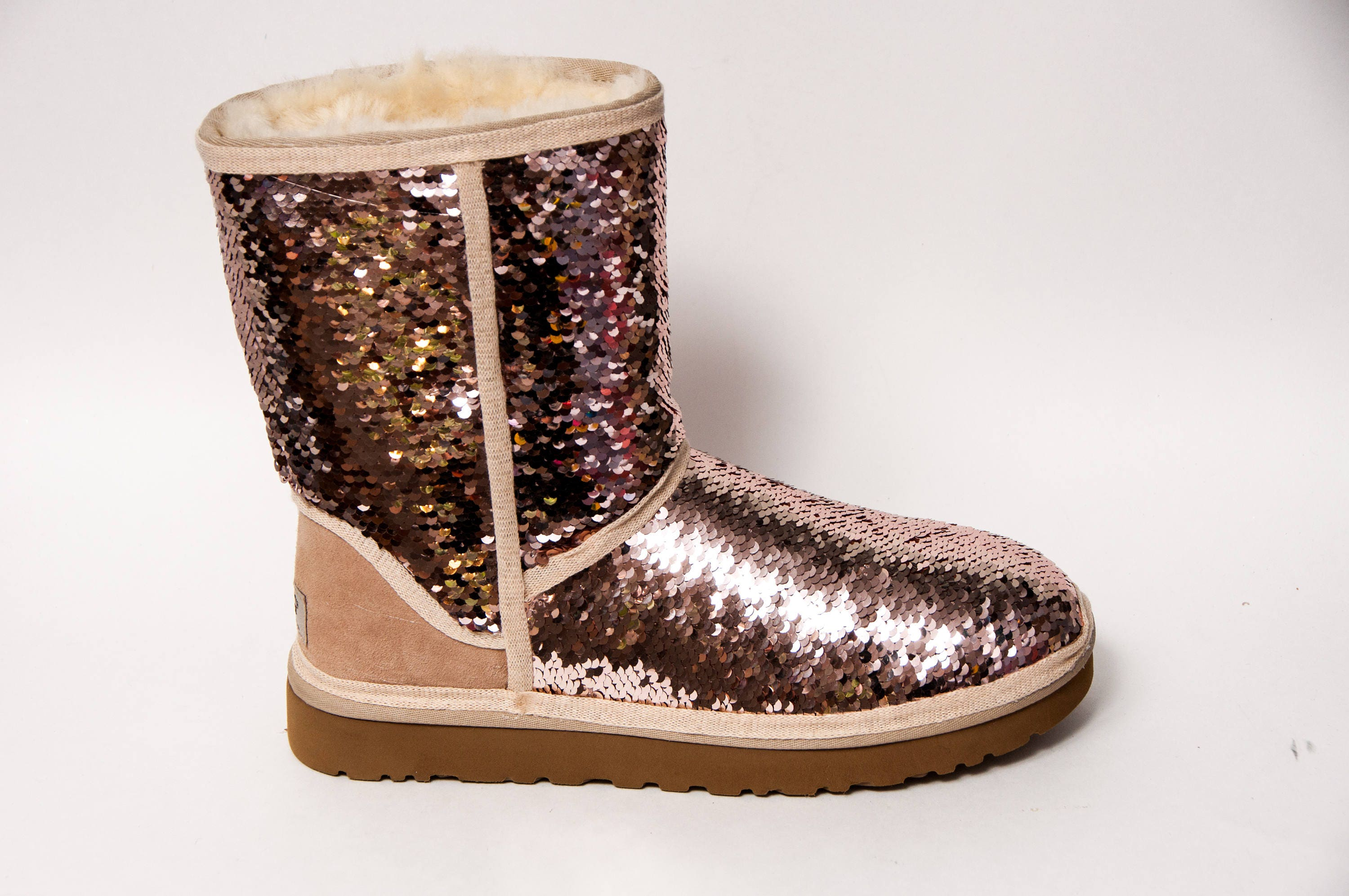 a4d49f90507 Reversible Rose Gold & Champagne Sequin Ugg Classic Short II Boots