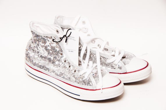 4d1d8d905b2a Ready to Ship - WMNS Size 11 Silver Tiny Sequin Converse® Hi Top Sneakers  Shoes by Princess Pumps