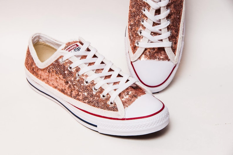 807f05c9c9ed Rose Gold Sequin Converse® Low Tops | Etsy