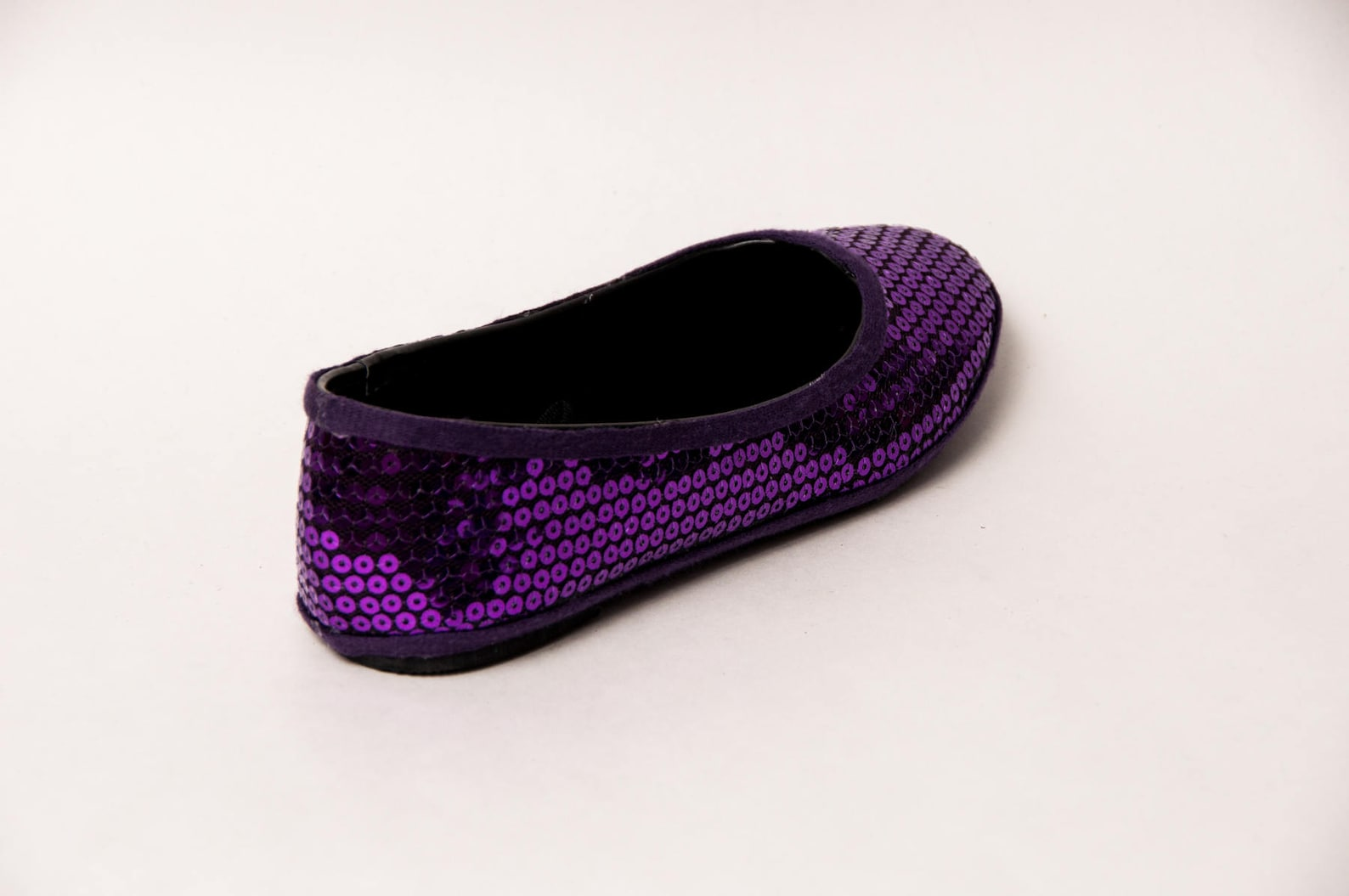 sequin - plum purple slipper ballet flats shoes by princess pumps