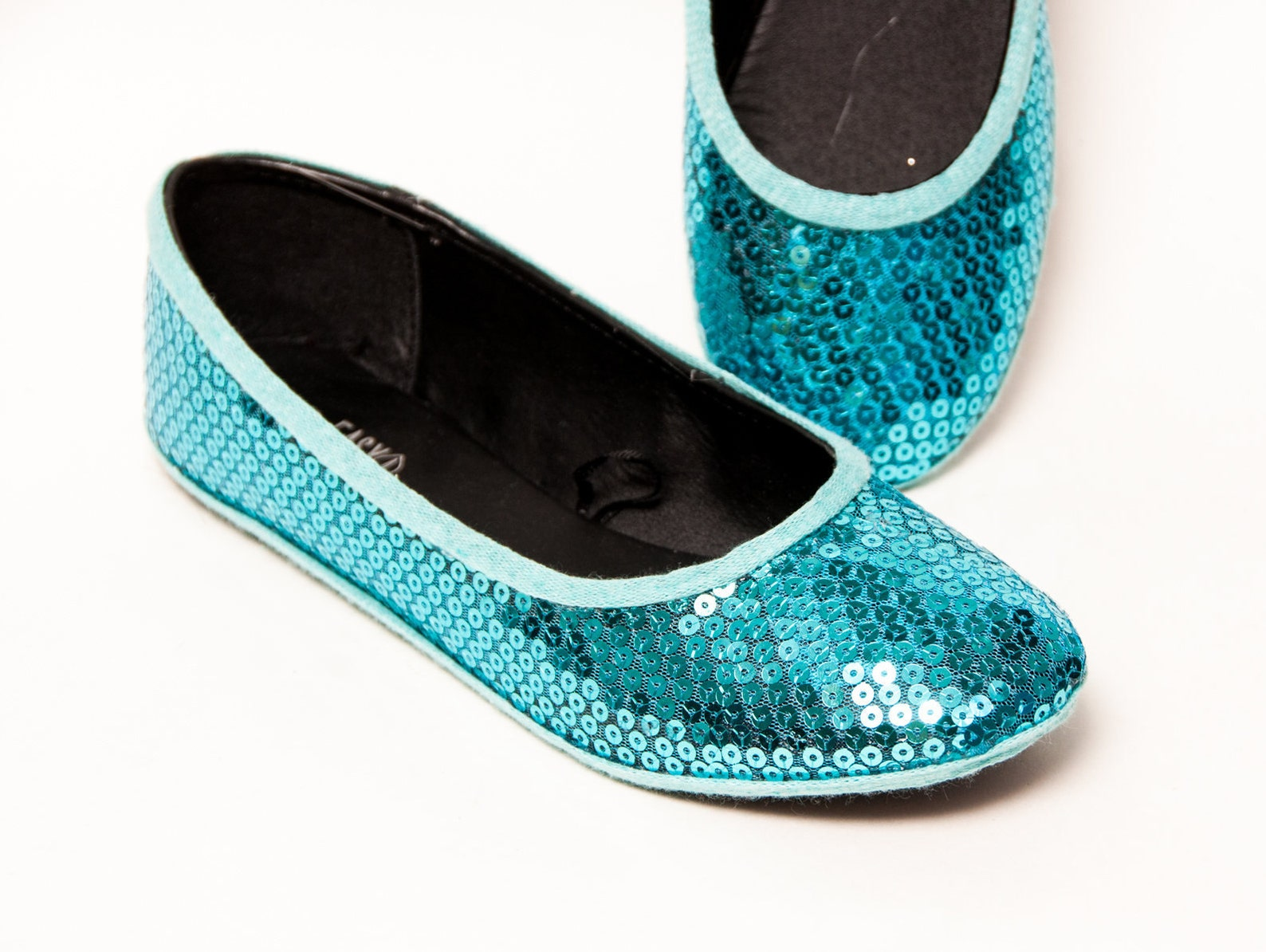 sequin - malibu blue ballet slipper flats custom shoes
