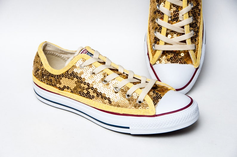be000879da645 Gold Sequin Converse® Canvas Low Top Sneakers