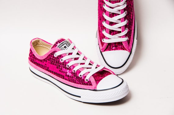c167bc263199 Sequin Hot Fuchsia Pink Canvas Low Top Sneakers Shoes