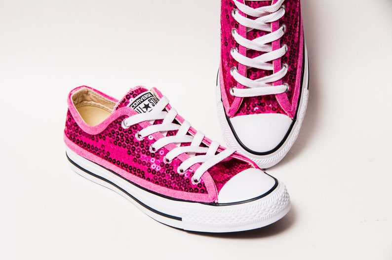 Hot Fuchsia Pink Sequin Converse Low Top Sneakers  a66020824