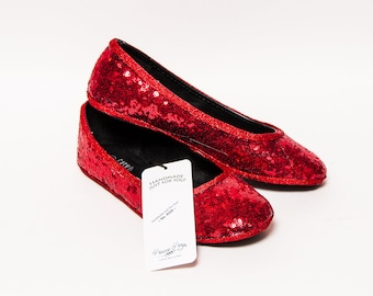 Ready 2 Ship - Size 9 Sequin Starlight Red Sequin Ballet Flats Slippers Shoes