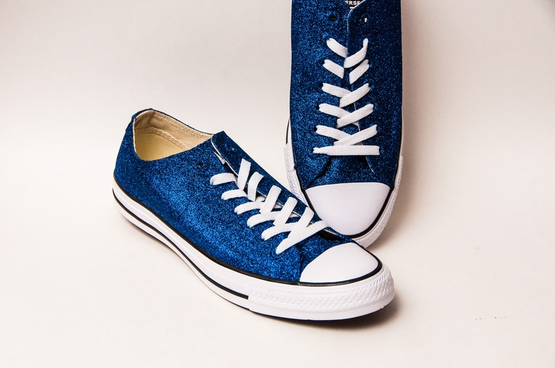 Royal Blue Glitter Converse® Low Tops