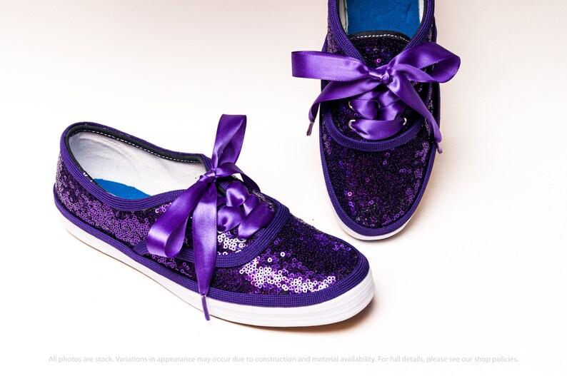 Purple Sequin Keds\u00ae Canvas Sneakers