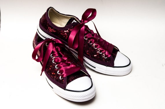 Burgundy Red Starlight Sequin Converse® Low Top Sneakers