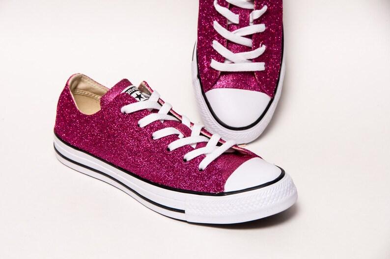 c282171aca20 Glitter Raspberry Pink Sparkly Canvas Customized Converse®