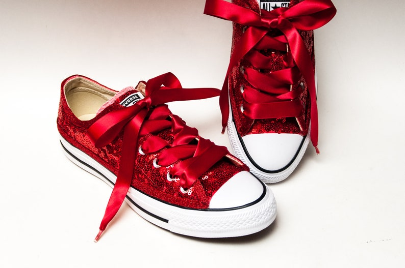 9a76d042dc43 Bridal Favorite Starlight Sequin Red Converse® Low Top | Etsy