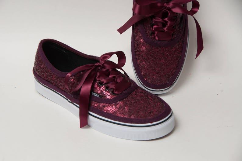 003209d38784f5 Tiny Sequin Burgundy Authentic Vans Canvas Classics Sneakers