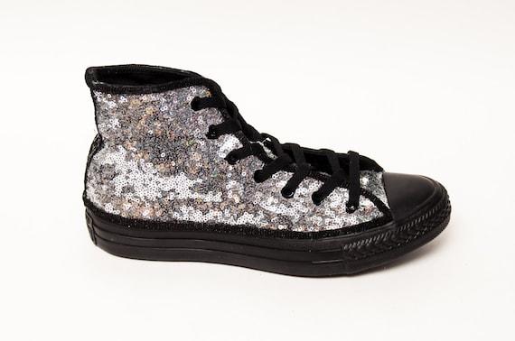 204d24480e76 Tiny Sequin Starlight Silver on Black Converse® All Star Hi
