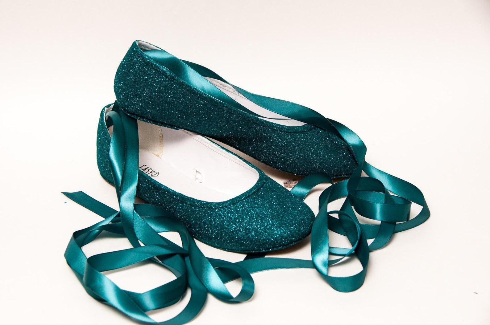 peacock glitter ballet flats
