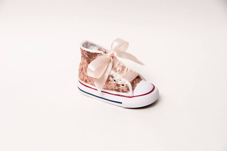f998eb9b757 Sequin Toddler Converse® Rose Gold Canvas Hi Top Sneakers