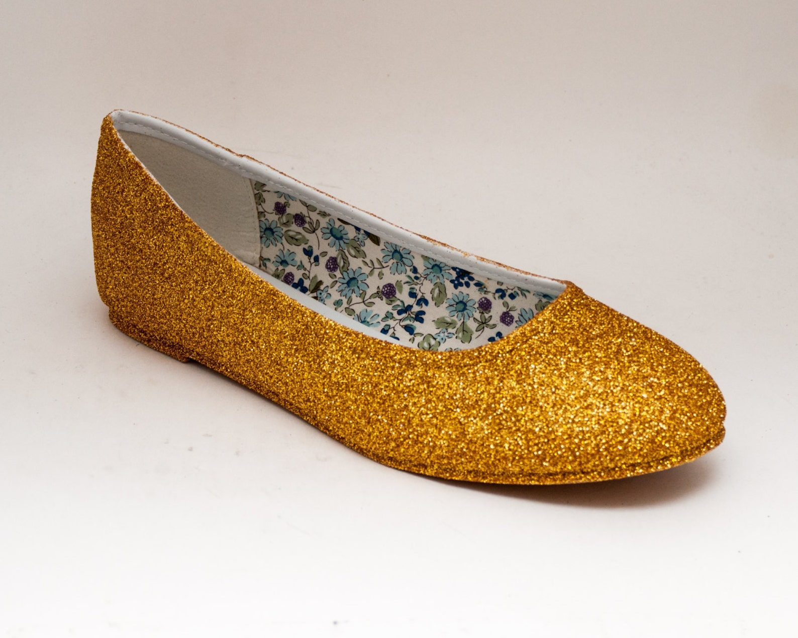 glitter | gold ballet flat slipper custom shoes