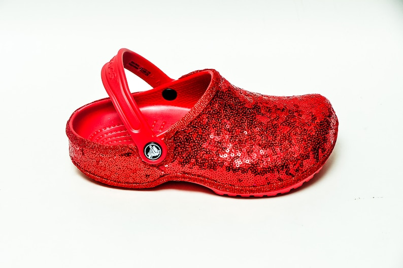 da2703b82 Youth Starlight Sequin Red Crocs Slip On Shoes