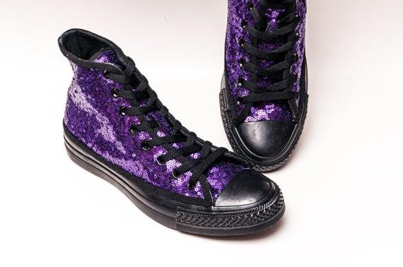 Purple & Black Sequin Converse High Top Sneakers