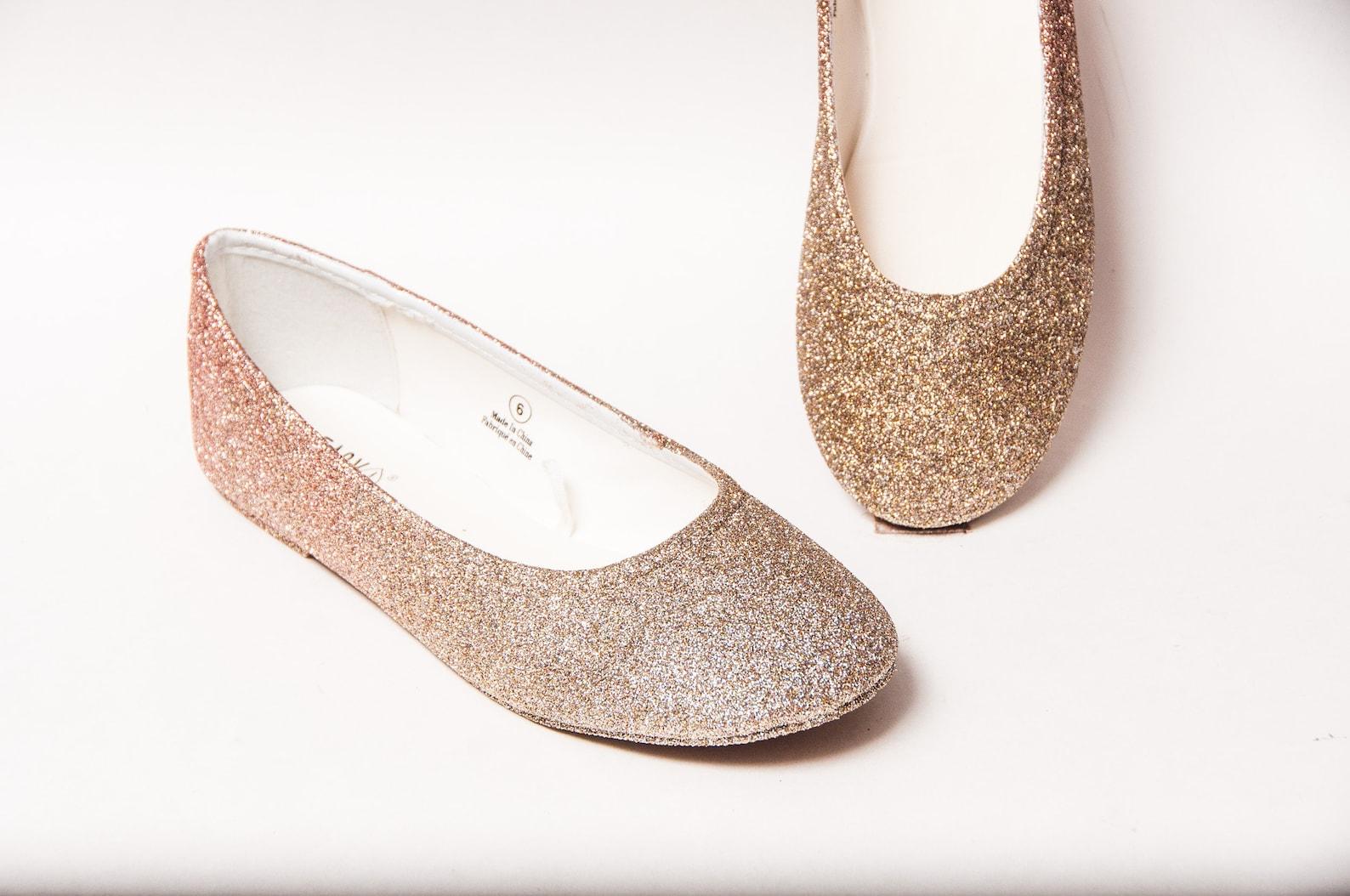 ombre glitter ballet flats