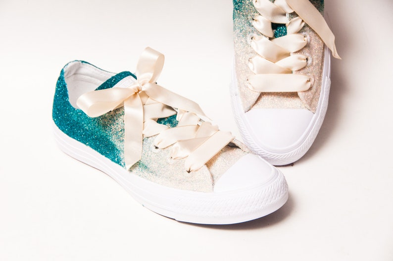 a16b4b621321 Glitter Ombre Two Tone Malibu Blue to Ivory Converse® Low