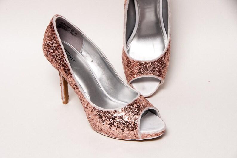 fe416b82a88d Sequin Rose Gold Toe Stiletto Peep Toe Dress Summer High
