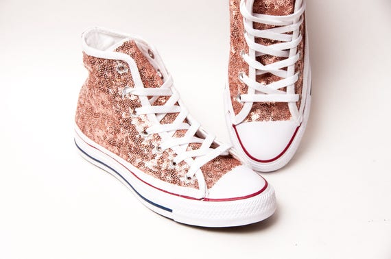Rose Gold Sequin Converse® High Tops Sneakers  82561e1c1