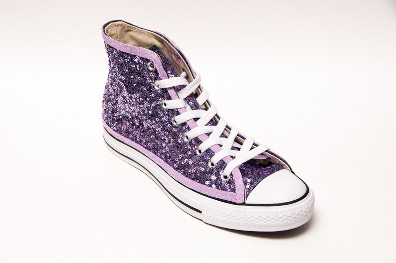 00411347688f Lavender Sequin Converse® High Tops