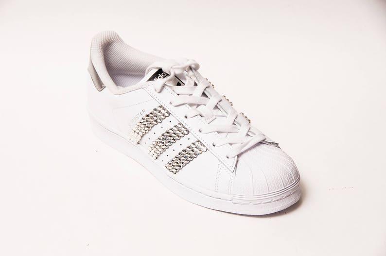 Strass Adidas Superstars II Fashion Sneakers Schuhe mit echten Swarovski Elements Strass Kristallen.