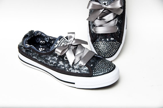 Hand Sparkled - Tiny Sequin - Full Steel Gray Sparkly Canvas Shoreline  Converse® Slip On Sneakers Shoes with Satin Ribbon Laces 2261957b0