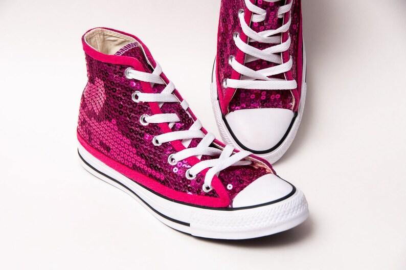 f339712255fe Hot Fuchsia Pink Sequin Converse Hi Top Sneakers