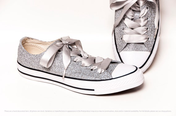 Silver Glitter Converse Low Tops | Etsy