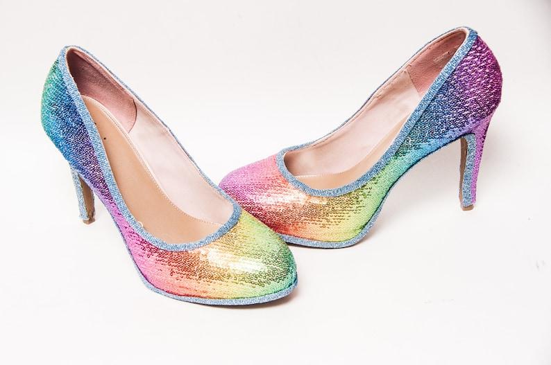 4cdc8ec26dc Sequin 6 inch Rainbow Stiletto High Heels Pumps Dress Shoes