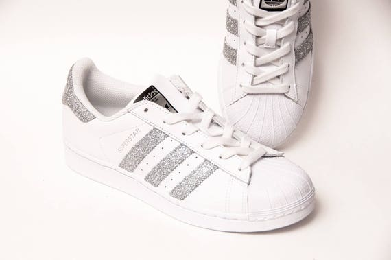 c56fd2519592 Glitter Silver Adidas Superstars II Fashion Sneakers Shoes