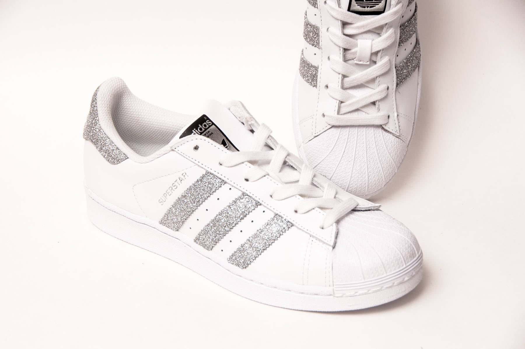 5e78cc4b6cf371 Glitter Silver Adidas Superstars II Fashion Sneakers Shoes