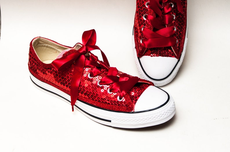 Red Sequin Converse® Low Tops With