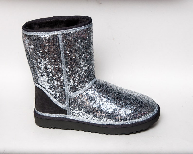 d07ccc67156 Silver Starlight Sequins Ugg Classic Short II Boots | Etsy