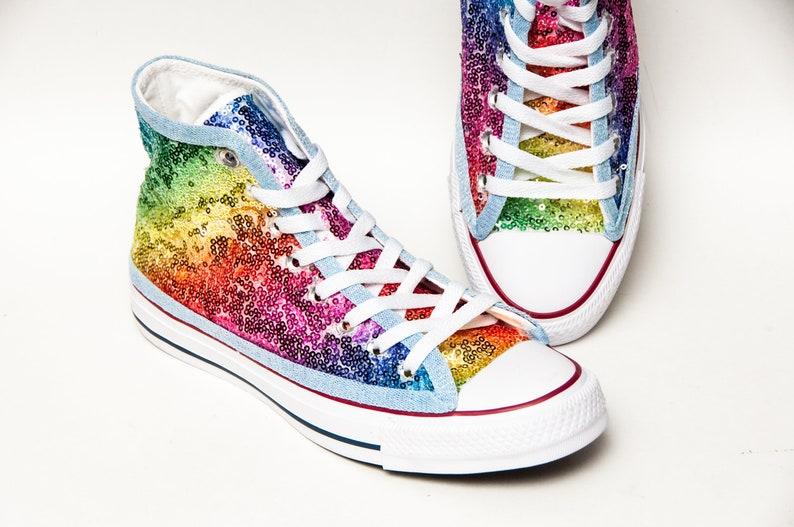 bc6896f0e302 Rainbow Multi Color Starlight Sequin Converse® Hi Top Sneakers
