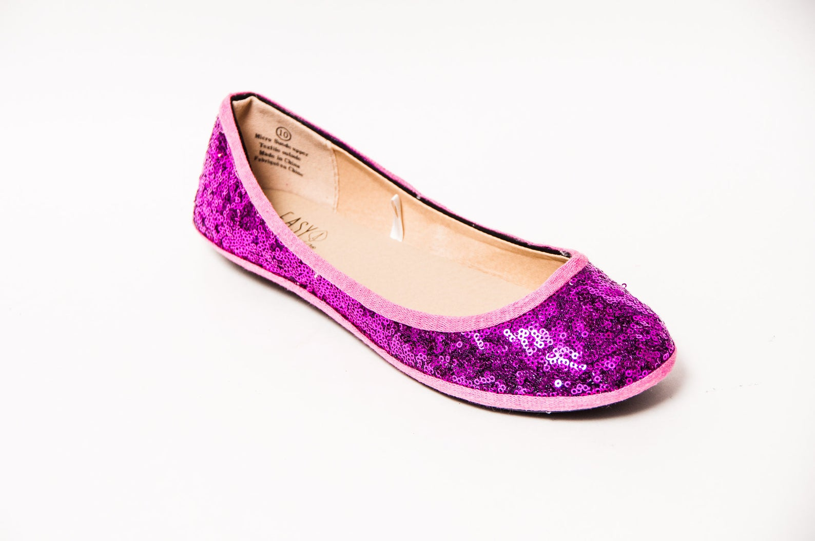 small sequin - starlight fuchsia hot pink slipper ballet flats dress shoes