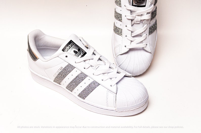 save off 0e7cd 9e709 Silver Glitter Adidas Superstars II Sneakers   Etsy