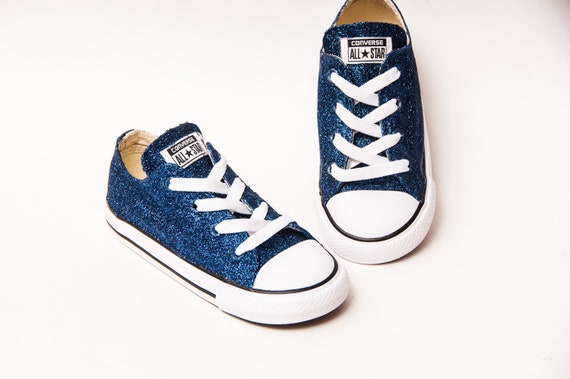 Glitter Navy Blue Converse Sneakers   Etsy