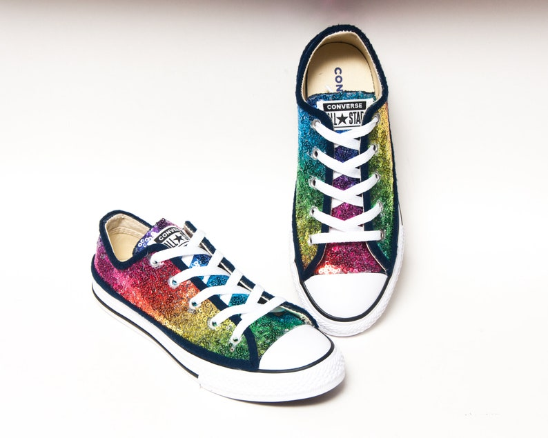 afba272f690f Sequin Youth Rainbow Multi Colored Converse® Canvas Low