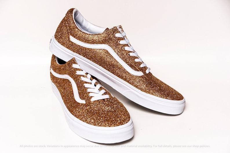 Gold Glitter Vans Old Skool Sneakers BOvKuleC