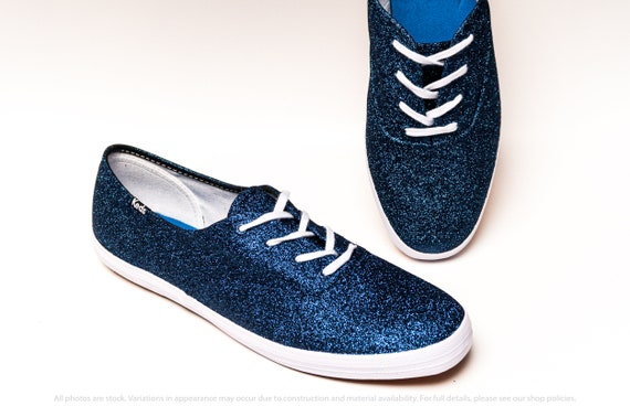 Navy Blue Glitter Keds Canvas Sneakers