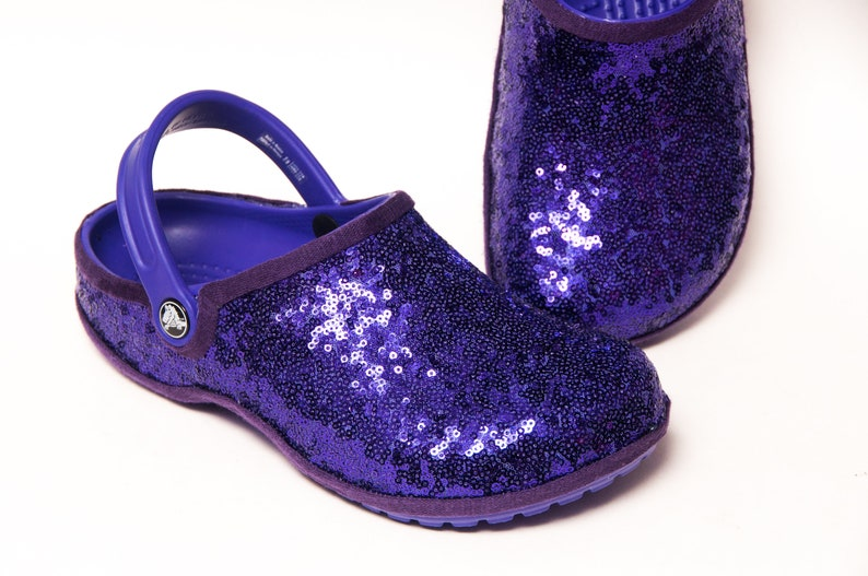 bf9293960 Tiny Sequin Starlight Purple Cayman Slip On Crocs Clogs