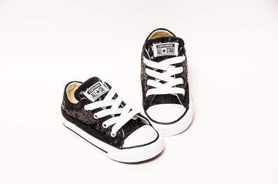974310d6f19 Toddler Tiny Sequin Starlight Black Converse® Customized