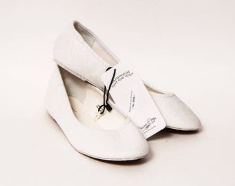 Ready 2 Ship - Size 7 Bridal White Ballet Flats Slippers Shoes