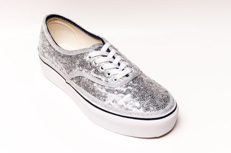 Silver Starlight Sequin Authentic Platform Vans Sneakers